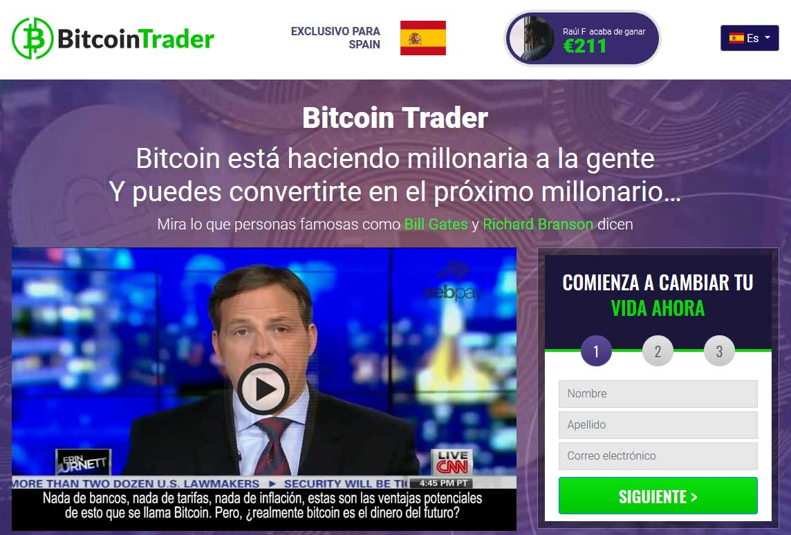 Bitcoin Trader fiable o estafa